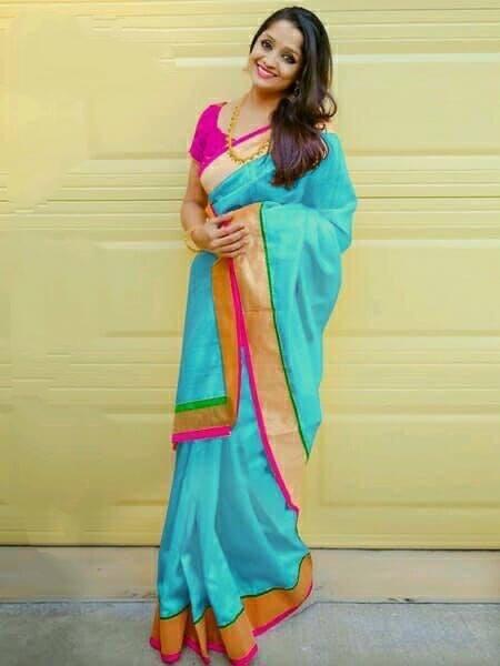 Sensational Sky Blue Chanderi Silk Plain Saree