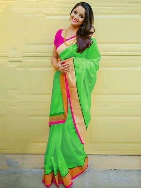 Radiant Green Chanderi Silk Plain Saree