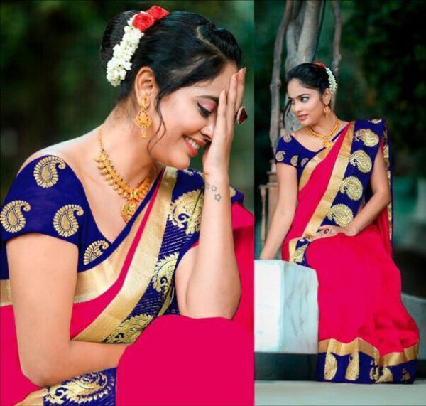 Wonderful Rani & Navy Blue Zoya Silk With Jacquard Viscos Border Saree