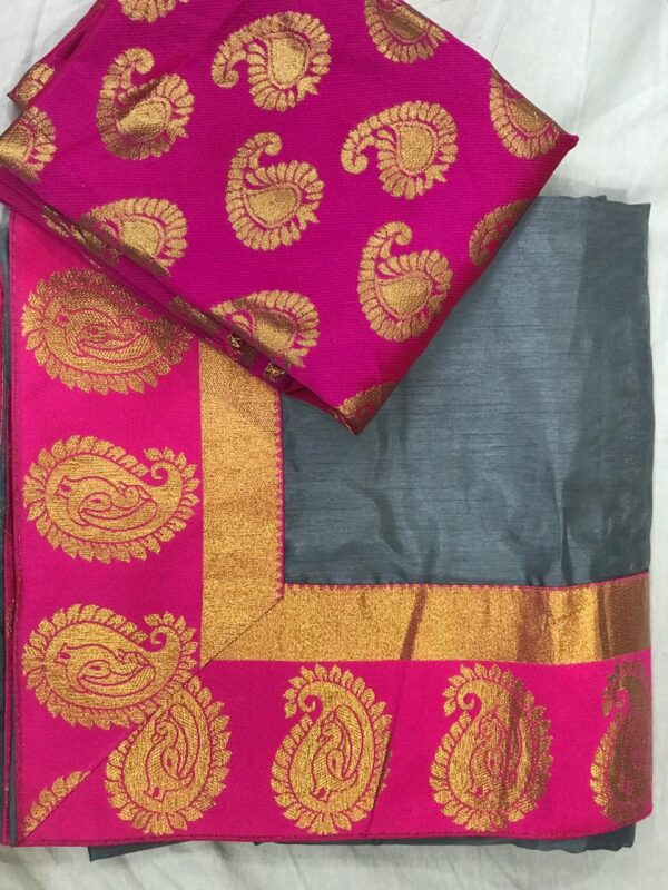 Bewitching Grey Zoya Silk With Jacquard Border Saree