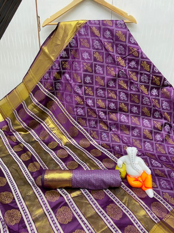 Exquisite Purple Bandhani Cotton Silk Jacquard Saree