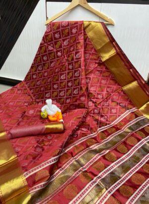 Gorgeous Maroon Cotton Silk Bandhani Jacquard Saree