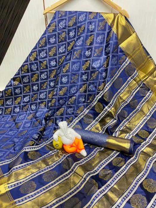 Amazeballs Blooming Blue Bandhani Cotton Silk Jacquard Saree