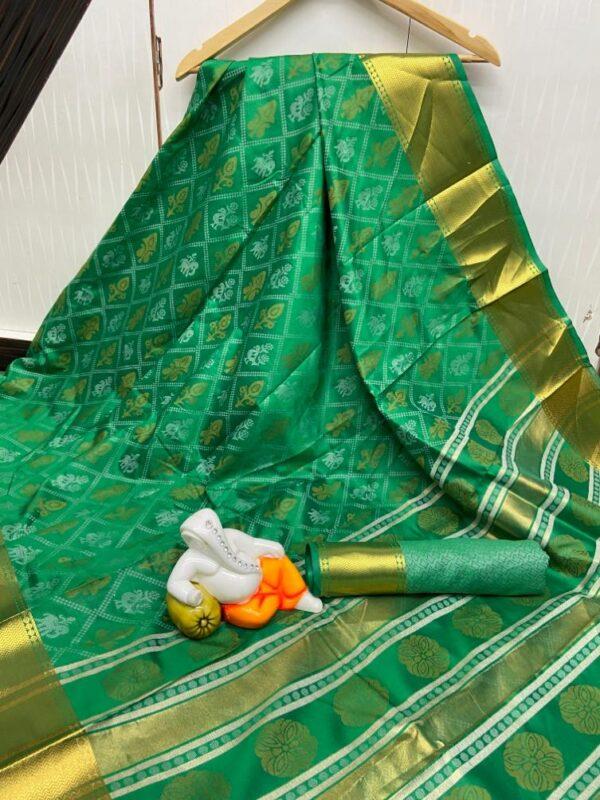 Knockout Dark Green Cotton Silk Bandhani Jacquard Saree