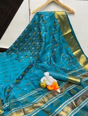 Bootylicious Rama Cotton Silk Jacquard Bandhani Saree