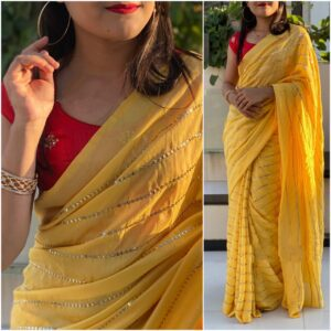 Remarkable Red & Yellow Georgette With Embroidered Work Saree