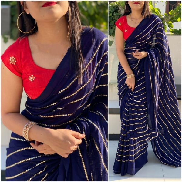 Extraordinary Red & Royal Blue Georgette With Embroidered Work Saree