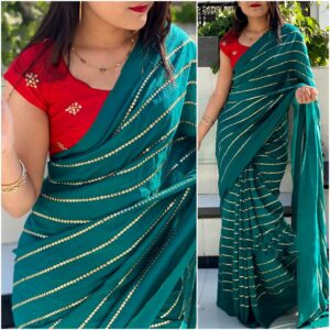 Staggering Red & Rama Georgette With Embroidered Work Saree