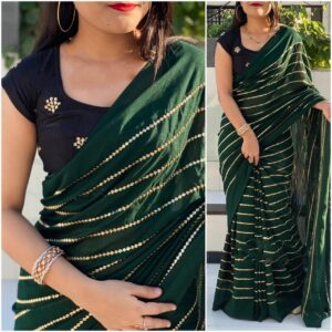 Incredible Dark Green & Black Georgette With Embroidered Work Saree
