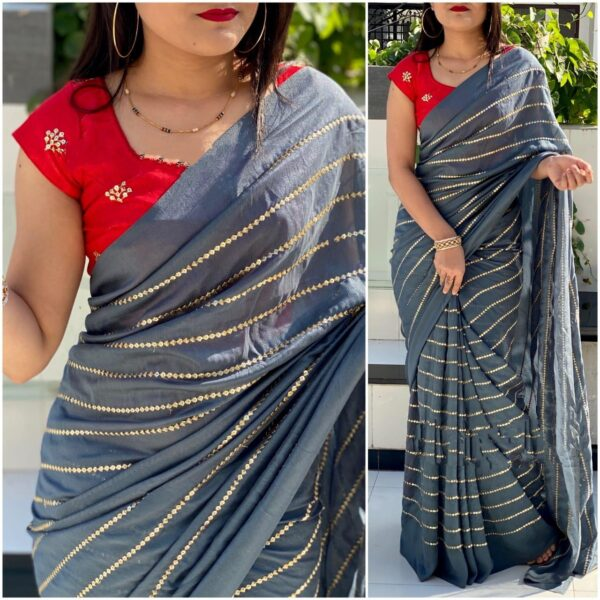 Impressive Red & Grey Georgette With Embroidered Work Saree