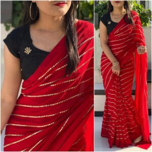 Outstanding Black & Red Georgette With Embroidered Work Saree