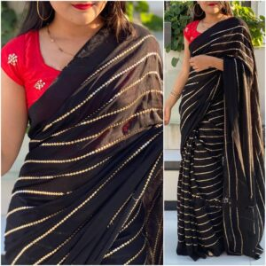 Amazing Red & Black Georgette With Embroidered Work Saree