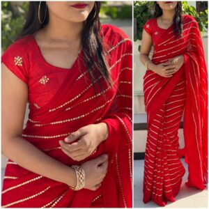 Astonishing Demanding Red Georgette With Embroidered Work Saree
