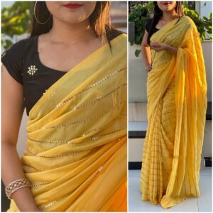 Marvellous Yellow & Black Georgette With Embroidered Work Saree