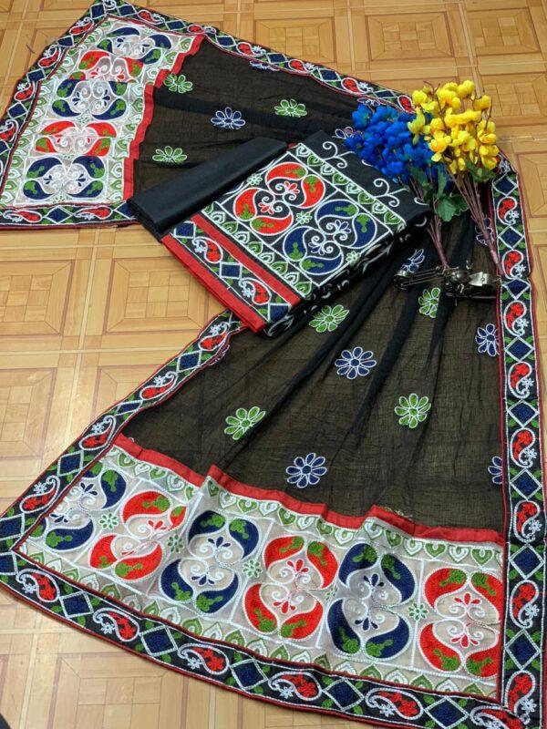 Phenomenal Black Cotton With Aari Work Daman Lace Salwar Suit