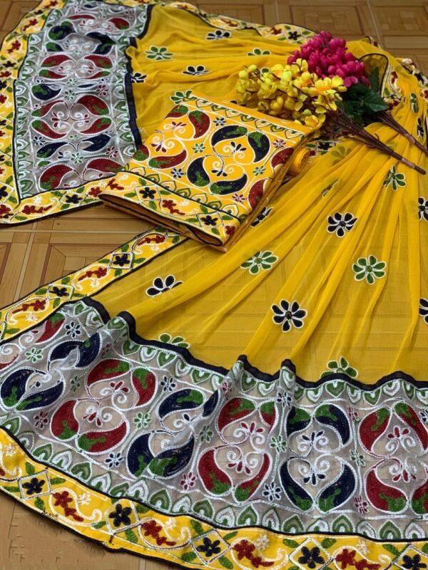 Breathtaking Yellow Cotton With Daman Lace Aari Work Salwar Suit