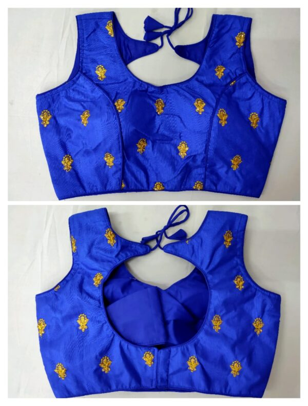 Beautiful Blue Golden Work With Fantam Ready Made Blouse