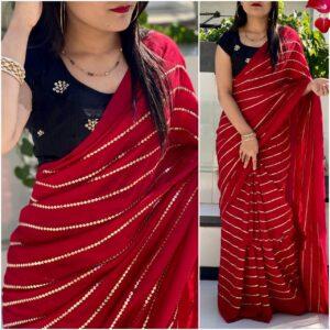 Good-Looking Dark Blue & Red Georgette With Embroidered Work Designer Saree Online