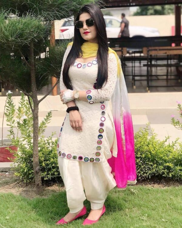Pretty Off White Georgette With Embroidered Work Plazo & Kurti