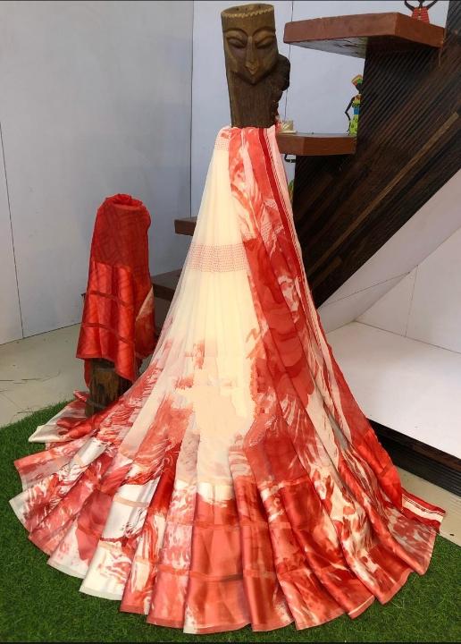 Sensational Cream & Red Sartin Patta Border With Digital Printed Designer Saree Online