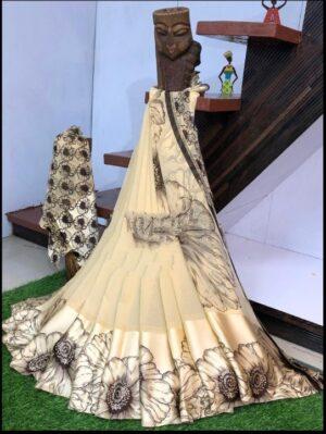 Radiant Cream Sartin Patta Border With Digital Printed Designer Saree Online