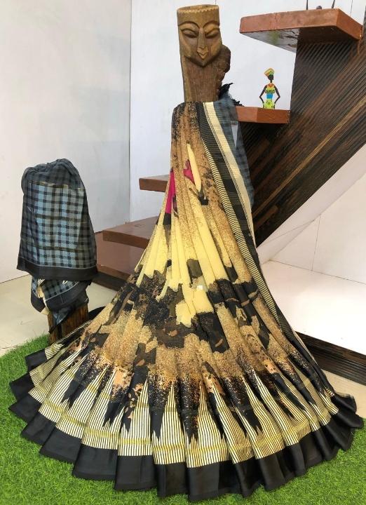 Ravishing Yellow & Black Geometrical Digital Printed With Sartin Patta Designer Saree Online