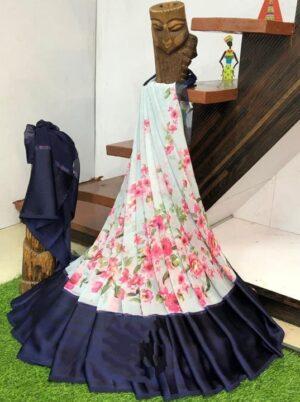 Dazzling Navy Blue & Sea Green Sartin Patta Border Digital Printed Designer Saree Online