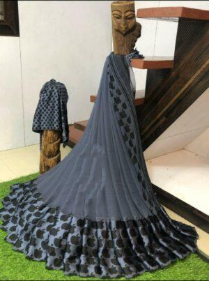 Devastating Grey Sartin Patta Border With Digital Printed Designer Saree Online