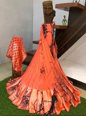 Glorious Orange & Black Digital Printed Sartin Patta Border Designer Saree Online