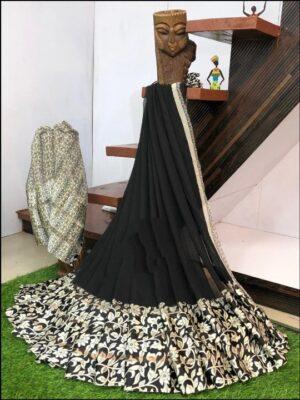Captivating Black Digital Printed Sartin Patta Border Designer Saree Online