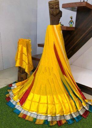 Bewitching Yellow Digital Printed Sartin Patta Border Designer Saree Online