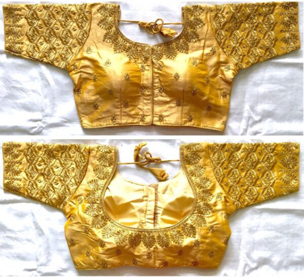 Exquisite Golden Silk With Thread Work Ready Made Blouse