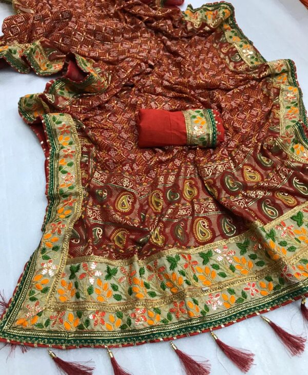 Astonishing Maroon Georgette Bandhani With Print Mil Foil Work Designer Saree Online