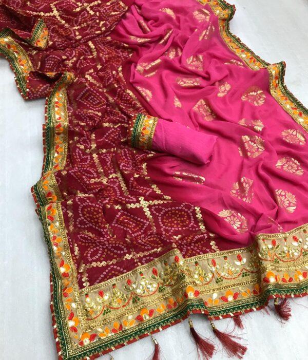 Marvellous Pink Bandhani Georgette With Print Mil Foil Work Designer Saree Online