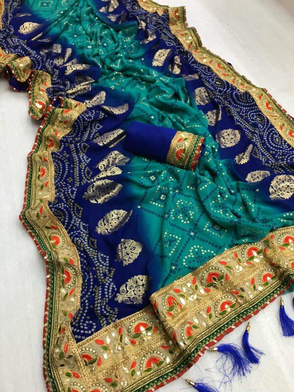Phenomenal Royal Blue Georgette Bandhani Print Mil Foil Work Designer Saree Online