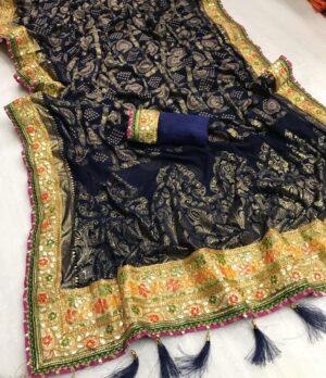 Splendid Navy Blue Georgette Bandhani Print Mil Foil Work Designer Saree Online