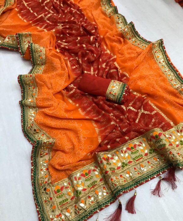 Fabulous Maroon & Orange Georgette Bandhani Foil Work Designer Saree Online