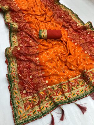 Pretty Orange & Maroon Bandhani Georgette Print Foil Work Designer Saree Online