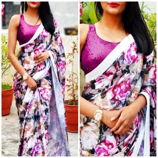 Radiant Rani & White Georgette With Printed Designer Saree Online
