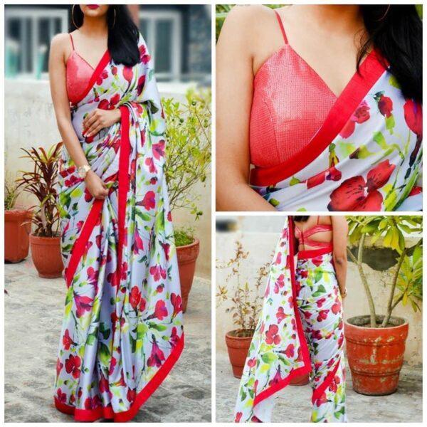Ravishing Multi Colored Georgette With Printed Designer Saree Online