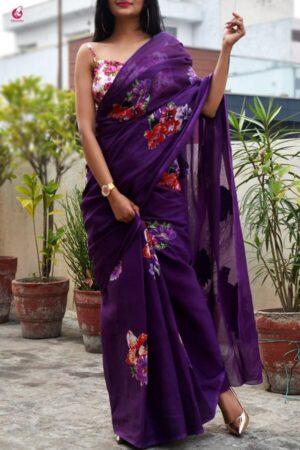 Striking Purple Georgette With Printed Designer Saree Online