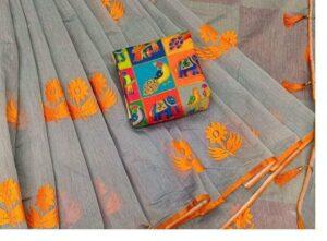 Dazzling Grey & Orange Chanderi Cotton With Zari Work Designer Saree Online