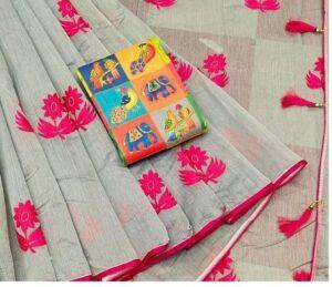 Devastating Pink & Grey Chanderi Cotton With Zari Work Designer Saree Online