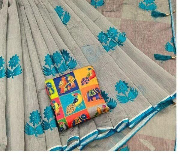 Magnificent Grey & Sky Blue Chanderi Cotton With Zari Work Designer Saree Online