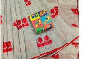 Glorious Grey & Red Chanderi Cotton With Zari Work Designer Saree Online