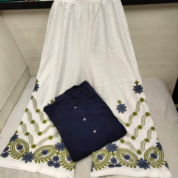 Captivating Navy Blue Rayon Shervani Style Plazo & Kurti
