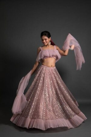 Exquisite Baby Pink Net With Embroidered Work Lehenga Choli Design Online