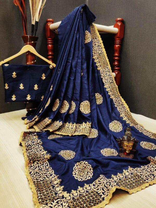 Knockout Blue Silk With Thread Embroidered Diamond Work Designer Saree Online