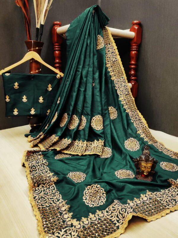 Smashing Dark Green Silk With Diamond Thread Embroidered Work Designer Saree Online