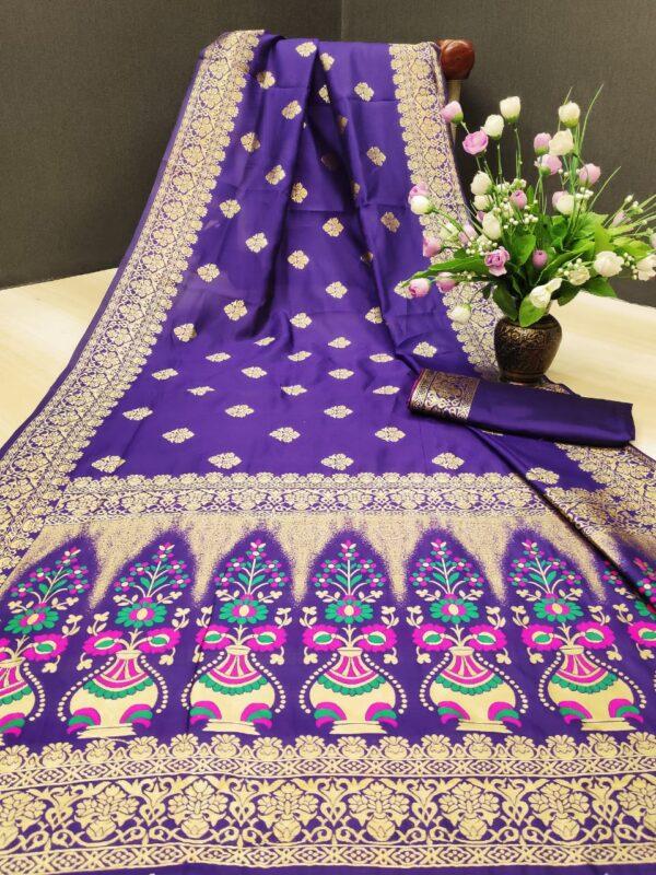 Pulchritudinous Purple Designer Silk With Rich Pallu Designer Saree Online